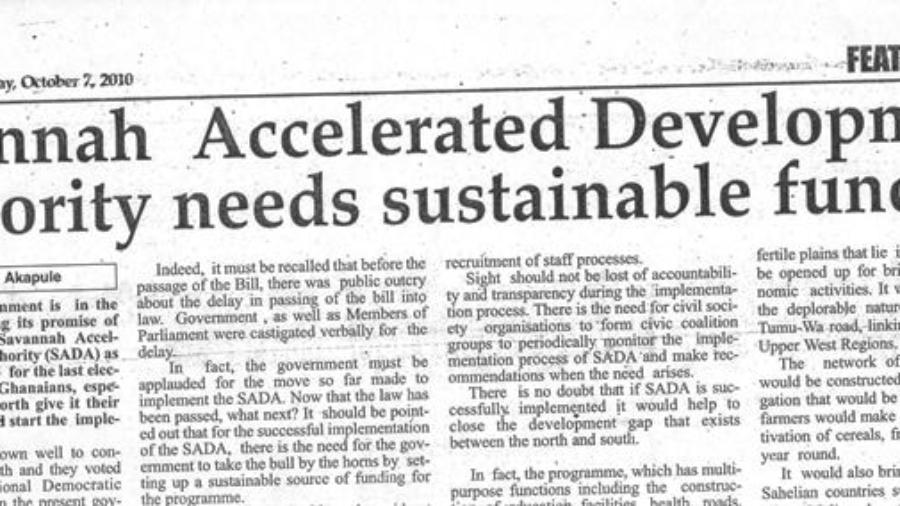 SADA needs sustainable funds